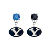 BYU Brighgam Young Cougars BLUE & BLACK Swarovski Crystal Stud Rhinestone Earrings
