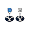 BYU Brighgam Young Cougars BLUE & CLEAR Swarovski Crystal Stud Rhinestone Earrings
