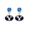 BYU Brighgam Young Cougars BLUE Swarovski Crystal Stud Rhinestone Earrings
