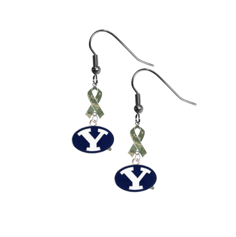 BYU Brigham Young Cougars Salute to Service Camouflage Camo Ribbon Dangle Earrings