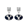 BYU Brighgam Young Cougars CLEAR Swarovski Crystal Stud Rhinestone Earrings