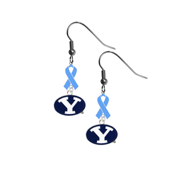 BYU Brigham Young Cougars Prostate Cancer Awareness Light Blue Ribbon Dangle Earrings