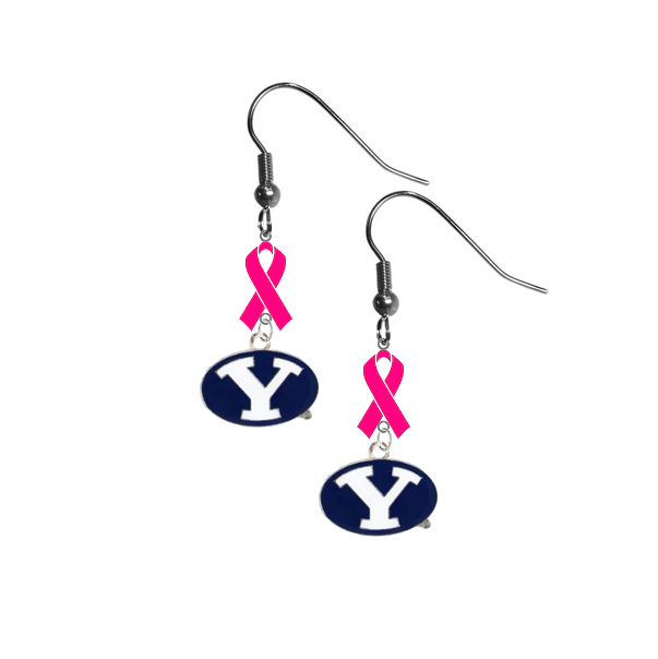 BYU Brigham Young Cougars Breast Cancer Awareness Hot Pink Ribbon Dangle Earrings