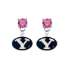BYU Brighgam Young Cougars PINK Swarovski Crystal Stud Rhinestone Earrings