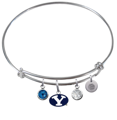 BYU Brigham Young Cougars Basketball Expandable Wire Bangle Charm Bracelet