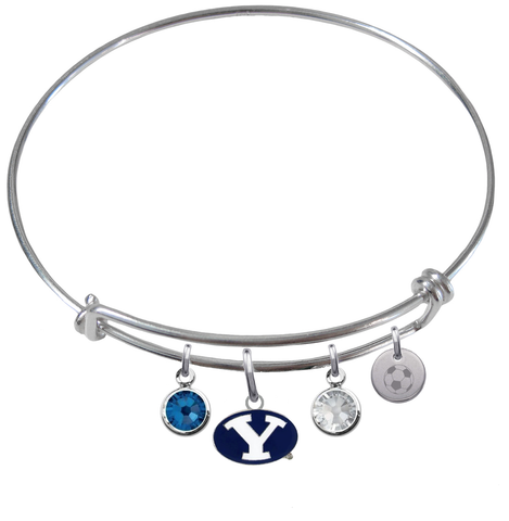 BYU Brigham Young Cougars Soccer Expandable Wire Bangle Charm Bracelet