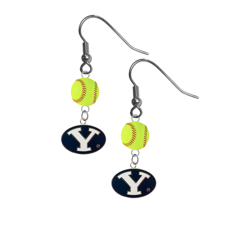 BYU Brigham Young Cougars NCAA Fastpitch Softball Dangle Earrings