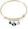BYU Brigham Young Cougars Gold Expandable Wire Bangle Charm Bracelet