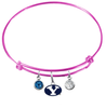 BYU Brigham Young Cougars Pink Expandable Wire Bangle Charm Bracelet