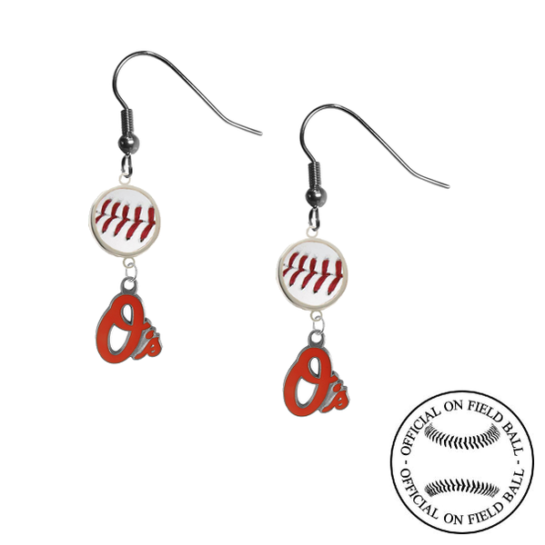 Baltimore Orioles MLB Authentic Rawlings On Field Leather Baseball Dangle Earrings