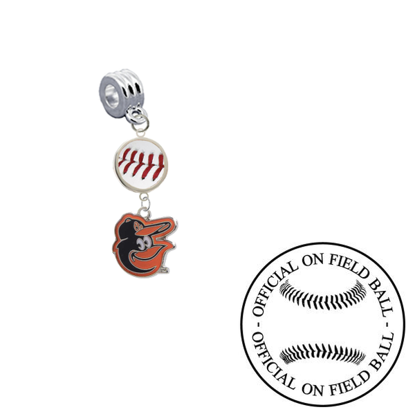 Baltimore Orioles Mascot On Field Baseball Universal European Bracelet Charm (Pandora Compatible)