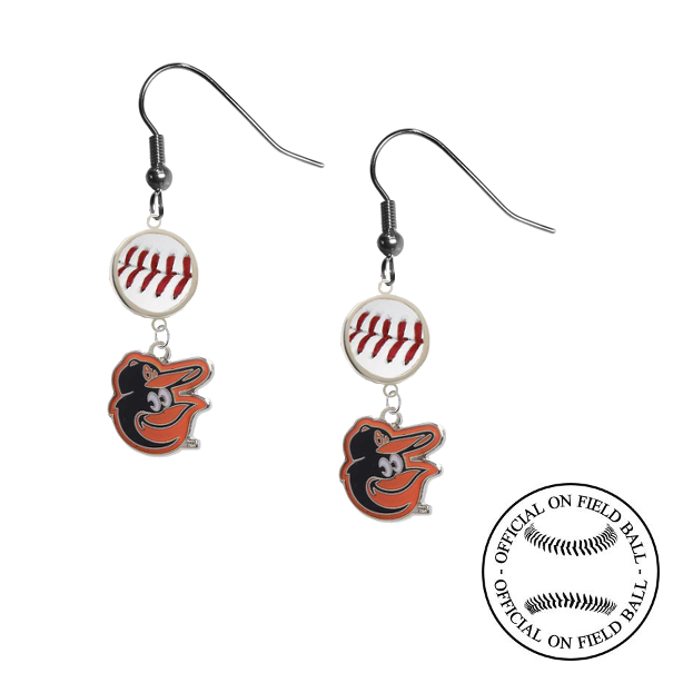 Baltimore Orioles Mascot Logo MLB Authentic Rawlings On Field Leather Baseball Dangle Earrings