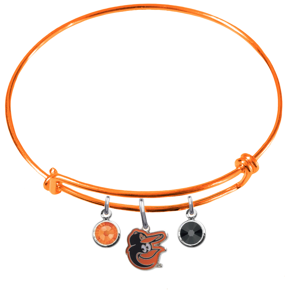 Baltimore Orioles Mascot Logo Orange MLB Expandable Wire Bangle Charm Bracelet