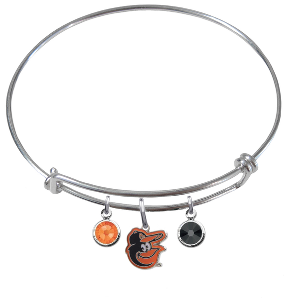 Baltimore Orioles Mascot MLB Expandable Wire Bangle Charm Bracelet