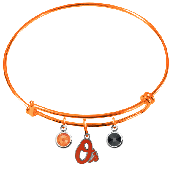 Baltimore Orioles Orange MLB Expandable Wire Bangle Charm Bracelet