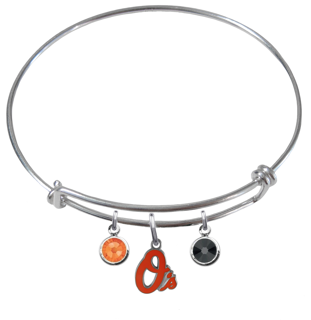 Baltimore Orioles MLB Expandable Wire Bangle Charm Bracelet