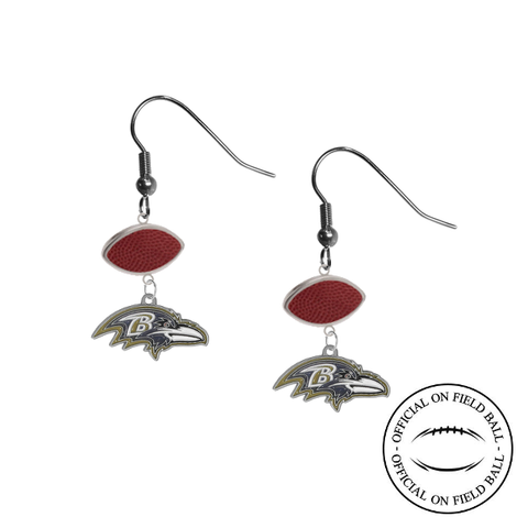Baltimore Ravens NFL Authentic Official On Field Leather Football Dangle Earrings