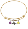 Baltimore Ravens Gold NFL Expandable Wire Bangle Charm Bracelet