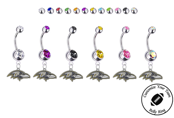 Baltimore Ravens Silver Swarovski Belly Button Navel Ring - Customize Gem Colors