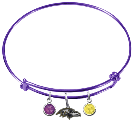 Baltimore Ravens Purple NFL Expandable Wire Bangle Charm Bracelet