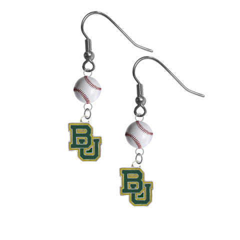 Baylor Bears NCAA Baseball Dangle Earrings