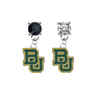 Baylor Bears BLACK & CLEAR Swarovski Crystal Stud Rhinestone Earrings