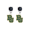 Baylor Bears BLACK Swarovski Crystal Stud Rhinestone Earrings