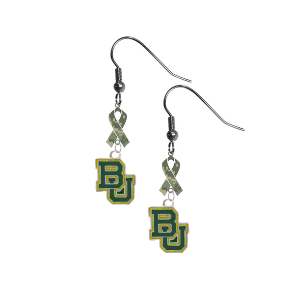 Baylor Bears Salute to Service Camouflage Camo Ribbon Dangle Earrings