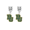 Baylor Bears CLEAR Swarovski Crystal Stud Rhinestone Earrings
