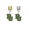 Baylor Bears GOLD & CLEAR Swarovski Crystal Stud Rhinestone Earrings