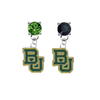Baylor Bears GREEN & BLACK Swarovski Crystal Stud Rhinestone Earrings