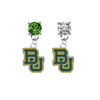 Baylor Bears GREEN & CLEAR Swarovski Crystal Stud Rhinestone Earrings