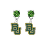 Baylor Bears GREEN Swarovski Crystal Stud Rhinestone Earrings