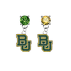 Baylor Bears GREEN & GOLD Swarovski Crystal Stud Rhinestone Earrings