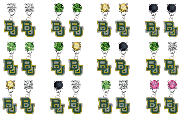 Baylor Bears NCAA Swarovski Crystal Stud Rhinestone Earrings