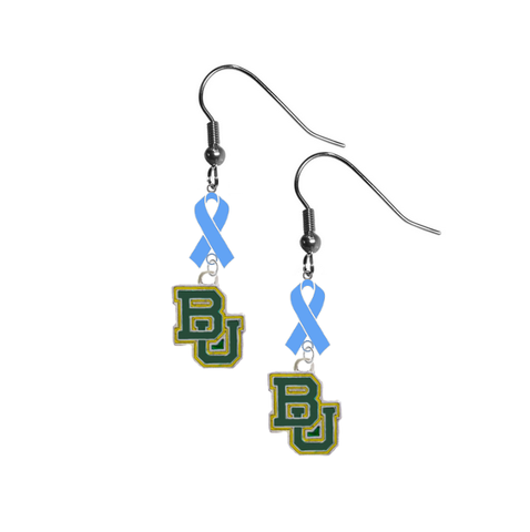 Baylor Bears Prostate Cancer Awareness Light Blue Ribbon Dangle Earrings