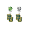 Baylor Bears LIME GREEN & CLEAR Swarovski Crystal Stud Rhinestone Earrings