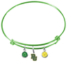 Baylor Bears NCAA Lime Green Expandable Wire Bangle Charm Bracelet