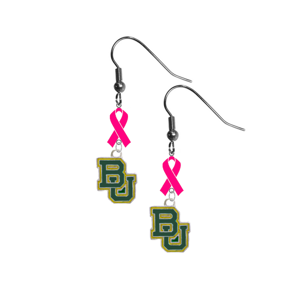 Baylor Bears Breast Cancer Awareness Hot Pink Ribbon Dangle Earrings