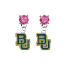 Baylor Bears PINK Swarovski Crystal Stud Rhinestone Earrings