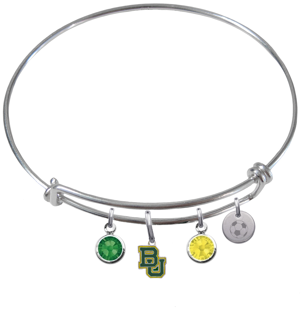 Baylor Bears Soccer Expandable Wire Bangle Charm Bracelet