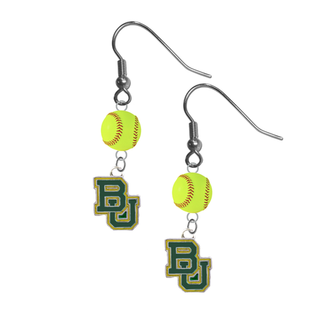 Baylor Bears NCAA Fastpitch Softball Dangle Earrings