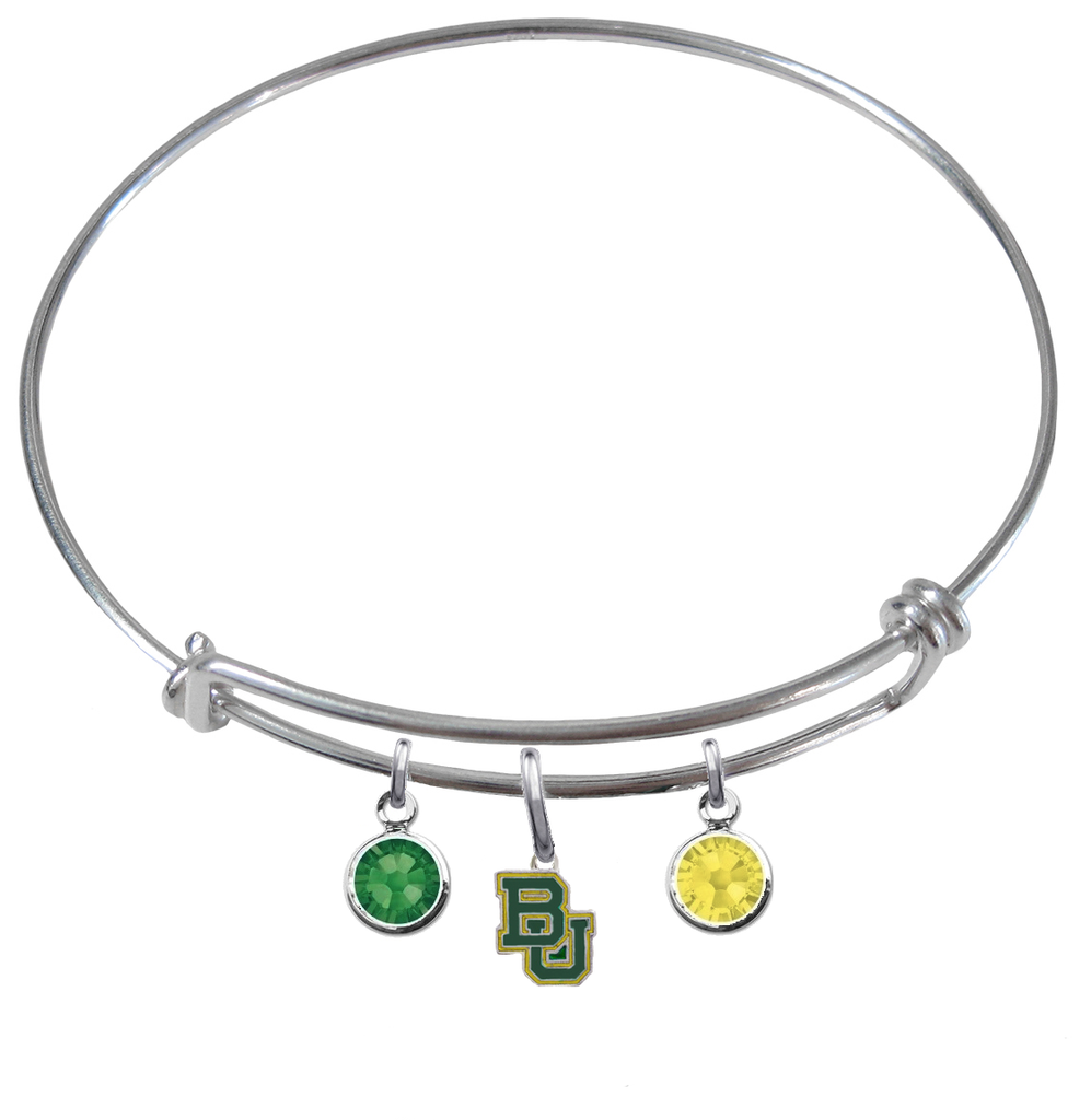 Baylor Bears NCAA Expandable Wire Bangle Charm Bracelet
