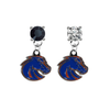 Boise State Broncos 2 BLACK & CLEAR Swarovski Crystal Stud Rhinestone Earrings