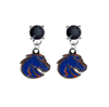 Boise State Broncos 2 BLACK Swarovski Crystal Stud Rhinestone Earrings