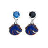 Boise State Broncos 2 BLUE & BLACK Swarovski Crystal Stud Rhinestone Earrings