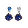 Boise State Broncos 2 BLUE & CLEAR Swarovski Crystal Stud Rhinestone Earrings