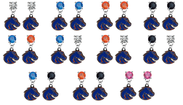 Boise State Broncos 2 NCAA Swarovski Crystal Stud Rhinestone Earrings