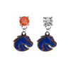 Boise State Broncos 2 ORANGE & CLEAR Swarovski Crystal Stud Rhinestone Earrings