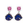 Boise State Broncos 2 PINK Swarovski Crystal Stud Rhinestone Earrings